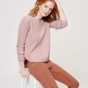 3/$30 LOFT Autumn Pink Ribbed Shirttail Sweater
